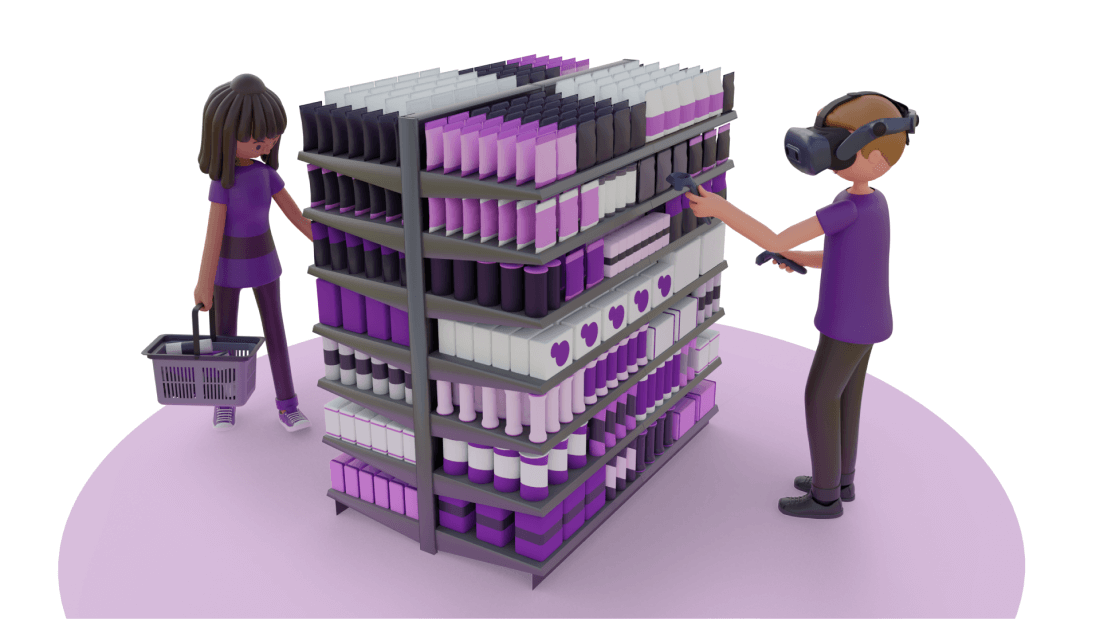 Person planogramming aisle with VR headset and shopping the aisle with a shopping basket